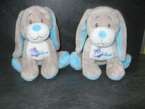 peluche doudou chien gris bleu arthur et lola lot de 2 état neuf