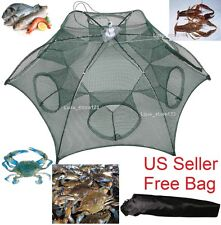 Foldable Crab Net Trap Cast Dip Cage Fishing Bait Fish Minnow Crawfish Shrimp T9