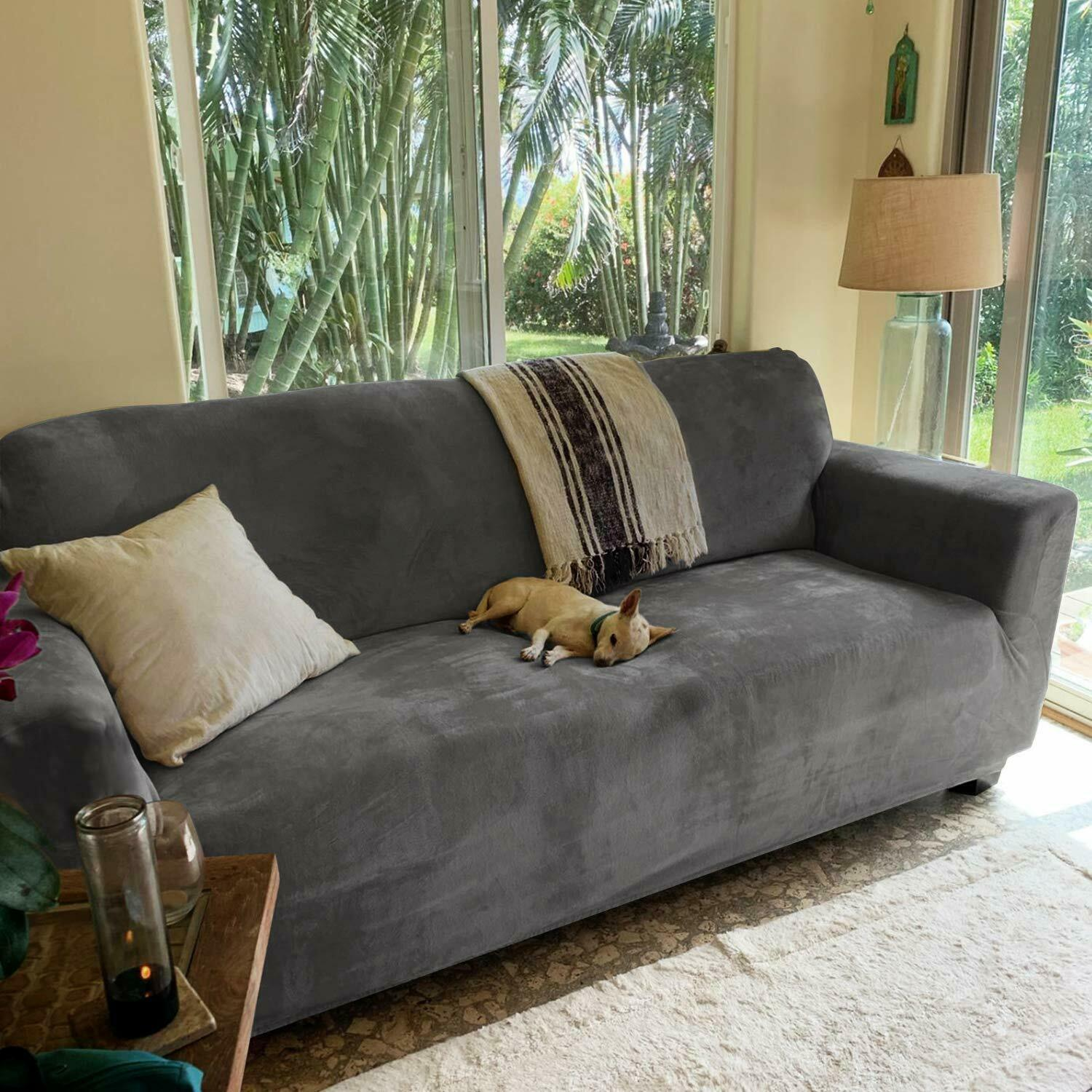 Stretch Sofa Slip Cover T And Box Cushion Couch Covers For Loveseat Gray For Sale Online Ebay