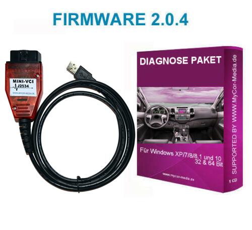 Diagnose Interface für Toyota MINI VCI J2534 OBD2 Scanner Yaris Firmware V 2.0.4