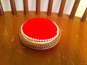 vintage hand decorated pin cushion red velvet feeling Faux pearl gold trim rare