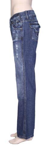 Womens Mid Rise Bootcut Distressed Jeans Ladies Denim Pants Trouser Size 6-14