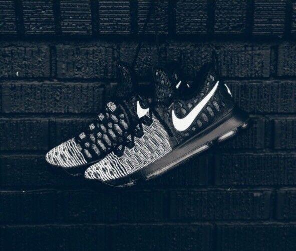Nike Zoom KD 9 Mic Drop Oreo Black White Sz 9 Durant Basketball Shoes 843392-010