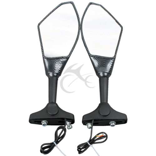 Pair Carbon LED Turn Signals Rear Mirrors For Yamaha YZF-R1 04-11 YZF-R6 06-11