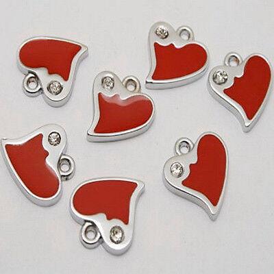 6pcs enamel heart charms/pendants w1012