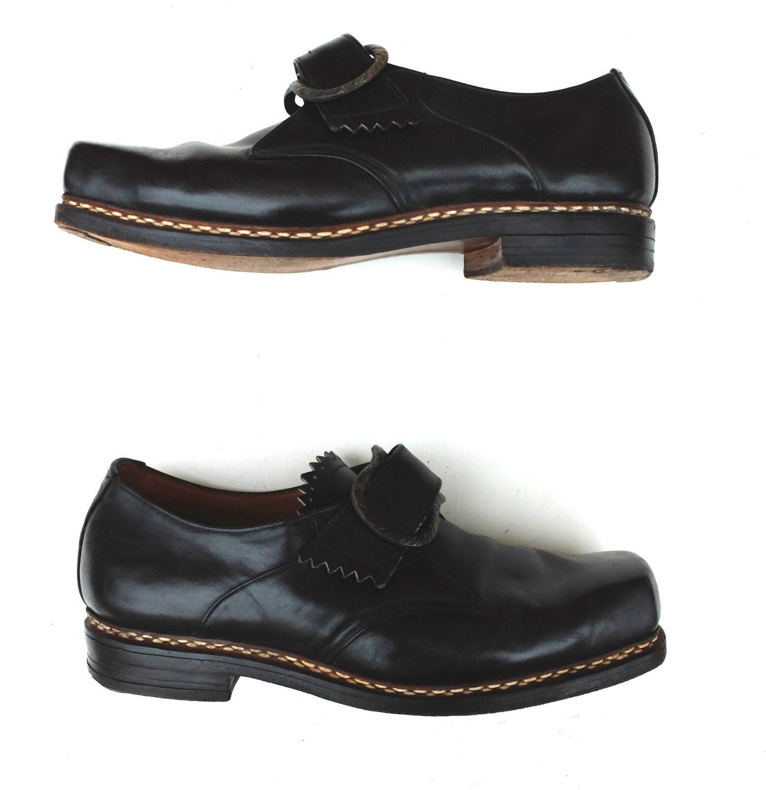 30er True Vintage 30s Herren Schuhe Slipper  Halbschuhe 40 Uk 6,5  Slipper Leder Schwarz 4a2645