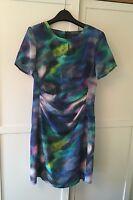 Pied a Terre silk multi colour print dress UK 12