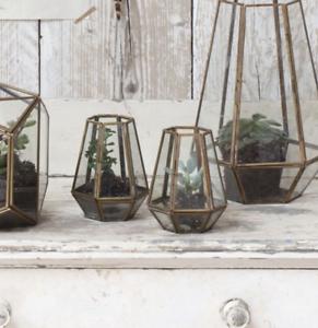 Medium-Brass-amp-Glass-Diamond-Terrarium-Planter-Candle-Holder-Lantern-Nandi