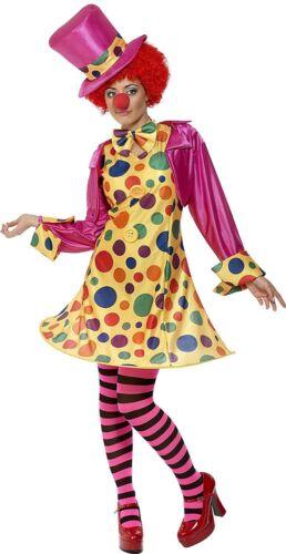 Ladies Circus Clown Costume Funny Comic Relief Polka Dot Women Fancy Dress