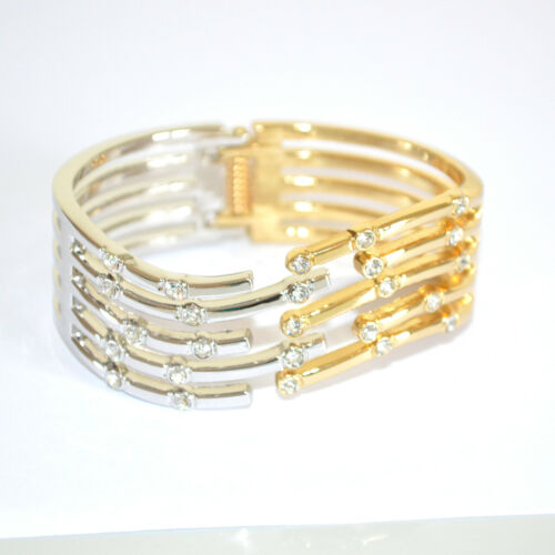 BRACCIALE donna RIGIDO ARGENTO ORO strass dorato CRISTALLI elegante pulsera 320A