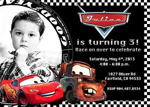 Birthday Party Invitation Cars Lightning McQueen Tow Mater