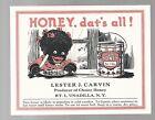 VINTAGE BLACK AMERICANA PAPER HONEY LABEL UNADILLA NY 1920s Lester Carvin Rte 1