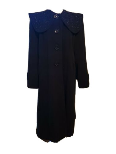 Vtg 40's 50's Mademoiselle Inc Wool Black Beaded … - image 1