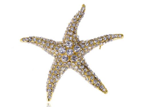 Lady Gold Tone Silver Crystal Rhinestone Sea Sand Starfish Star Beach Pin Brooch