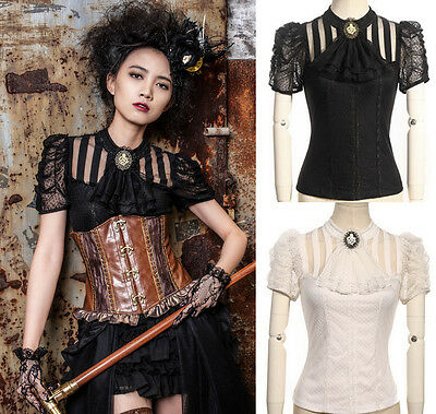 RQ-BL Steampunk Gothic Blouse Shirt black white brown victorian Ladies Jabot