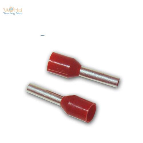100 rote Aderendhülsen, für 1,5mm² Kabel, Schaft isoliert, Aderendhülse rot