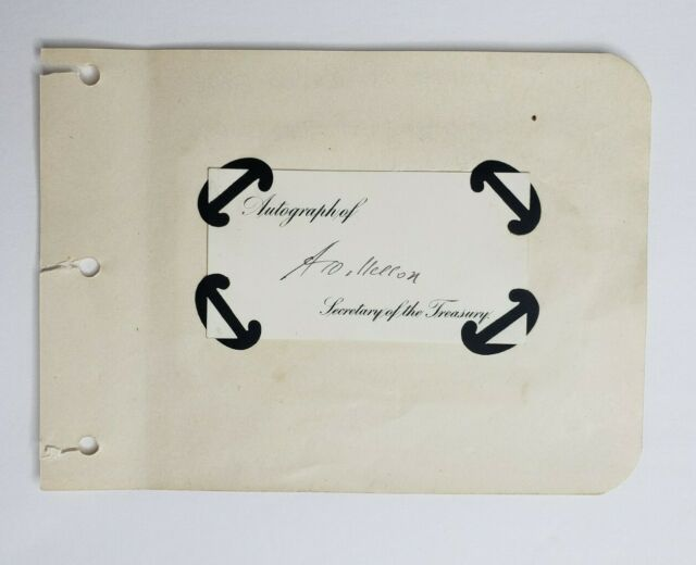 Andrew Mellon signed autographed calling card Secretary of the Treasury 1920s