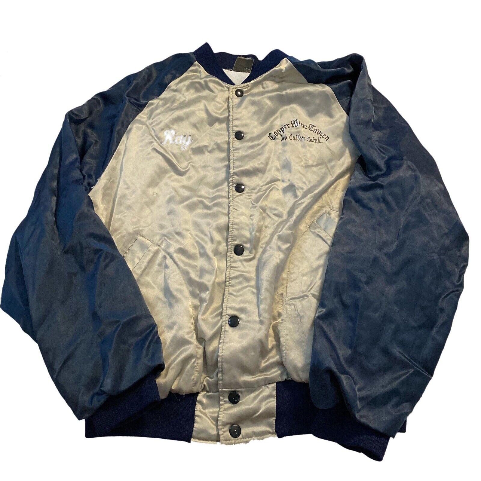 "1970's 80's Silver Blue Satin Jacket Copper Mine Tavern Sz Large ""Ray"""