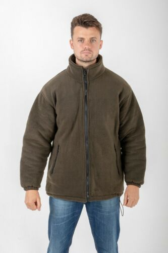 Hazy Blue Mens Warm Breathable Quilted Padded Fleece Jacket