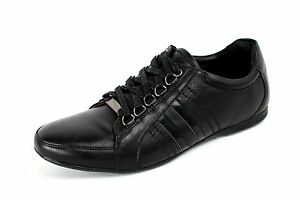 Mens Lace Up Shoes Casual Leather Look Italian Trainers Designer Sport New Size