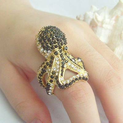 Golden Tone Black & Clear Rhinestone Crystal Cocktail Fish Octopus Ring CR618C6