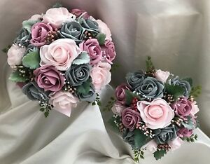 Wedding flowers vintage rose baby pink grey roses with dusty image is loading wedding flowers vintage rose baby pink amp grey mightylinksfo