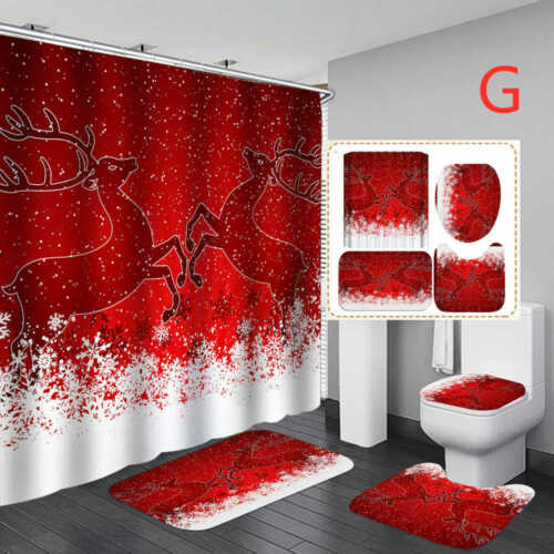 Christmas Santa Shower Curtain Bath Mat Toilet Cover Rugs Bathroom Set 1//3//4Pcs