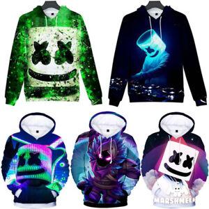 Kids Boys DJ Marshmallow Hooded Hoodies Sweatshirt Pullover Jumper Coat Jacket