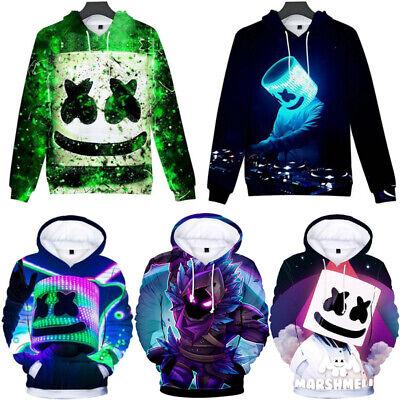 Boys Kids Marshmello Hoodie Hooded Sweatshirt Pullover Winter Casual Coats Tops