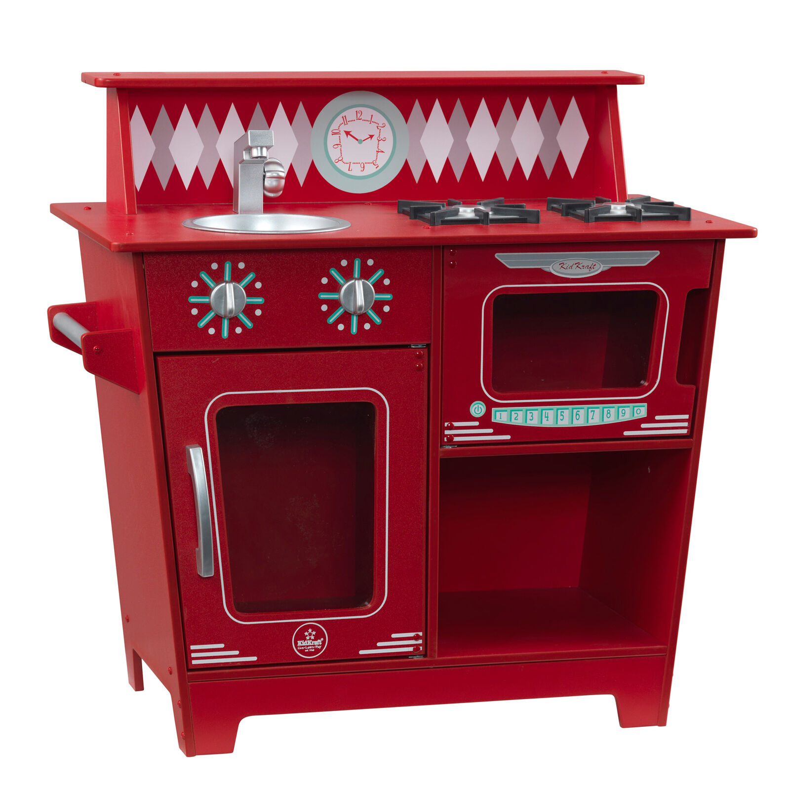 Kidkraft Classic Wooden Pretend Play Cooking Kitchenette Toy Set For Kids Red Brand New