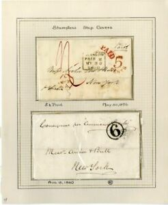 USA-Timbres-rare-paire-de-1860-S-stampless-navire-Couvre