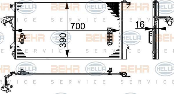 8FC 351 317-464 Hella Condensador Aire Acondicionado