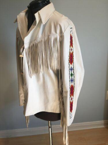 Womens White Western Cowboy Leather Jacket With Fr
