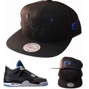 8fc3958f835979 Mitchell   Ness Chicago Bulls Black Snapback Hat Air Jordan 4 Retro ...