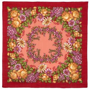 Foulard-russe-a-motifs-traditionnels-en-laine-034-La-Fee-qui-danse-034