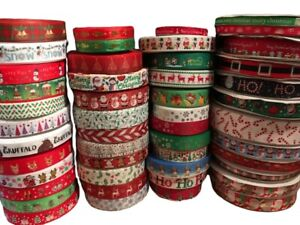 Christmas-Ribbon-Huge-Selection-Happy-Xmas-Sold-by-the-meter