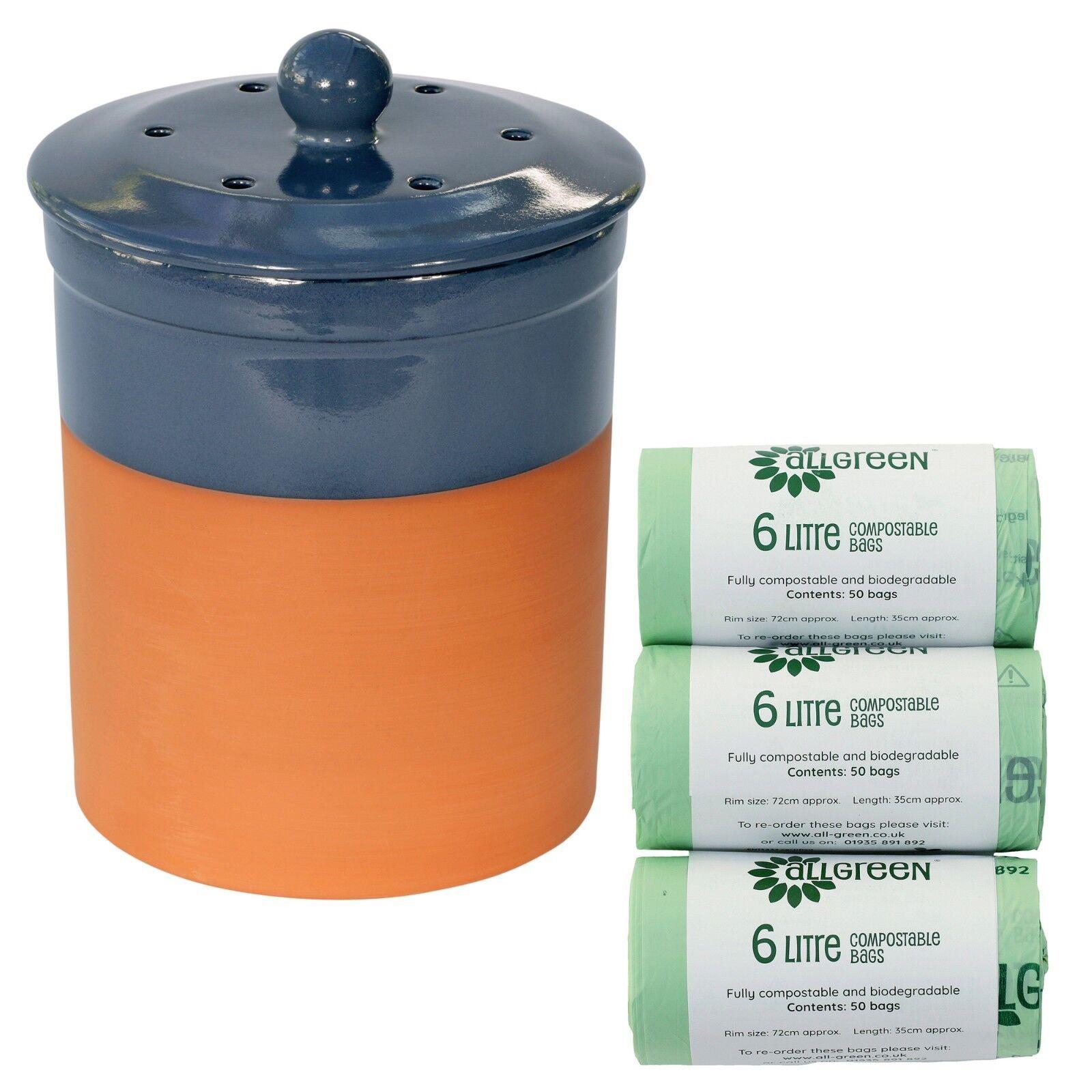 Chetnole Terracotta Compost Caddy - Blau & 150x Biobags - Ceramic Kitchen Bin
