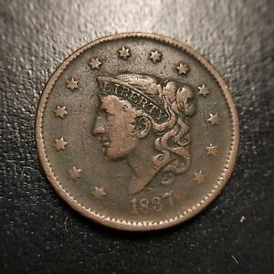 1837-Matron-Head-VF-Very-Fine-Coronet-Large-Cent-Type-Coin