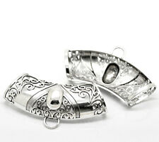3 Silver Tone Pattern Carved Bail Beads Wrap Scarf Charm Making Finding 10.2x5cm