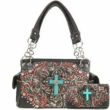 Item 3 Justin West Turquoise Cross Western Fl Scroll Conceal Carry Handbag Purse