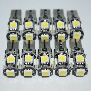 10-T10-Led-Canbus-Error-Free-5-SMD-Car-Side-Wedge-light-Bulb-White-168-194-W5W