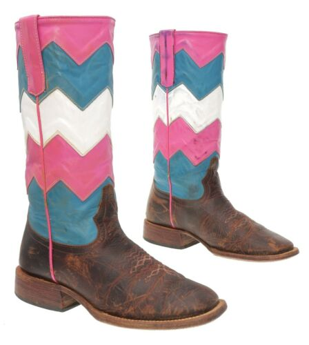 MACIE BEAN Cowboy Boots 4 B Womens CHEVRON Colorfu