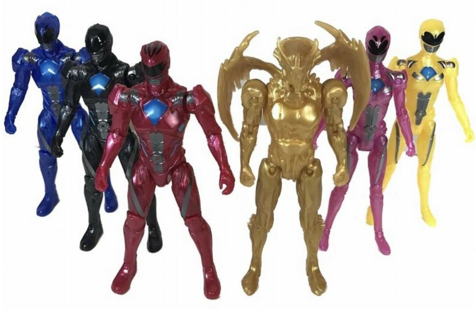 Power Rangers Team 6-Piece Action Figure Set With Exclusive Metallic Goldar New