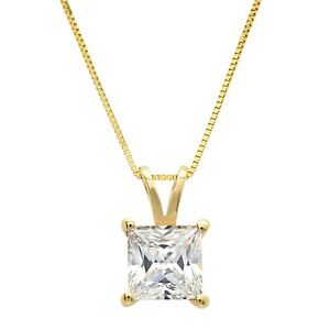 2ct-Princess-Cut-Solitaire-Solid-14k-Yellow-Gold-Pendant-Necklace-16-034-Chain