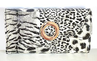 905644bfdf BORSELLO PORTAFOGLIO donna NERO BIANCO pochette animalier pelle clutch bag  1260 | eBay