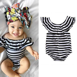 8073a555be0 EG  LK  Baby Girls Jumpsuit Playsuit Outfit Ruffles Striped Kids ...
