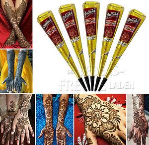 5x Golecha Henna Cone Maroon Each 25g For Mehndi Tatoo