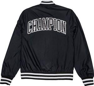 71fc23ac Image is loading Champion-Life-Satin-Baseball-Jacket-C-Logo-Black-