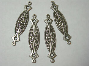 Antiqued Silver Plated Brass Drops Earring Findings Victorian Connectors 4