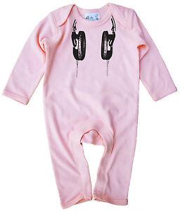 "Dirty Fingers Baby Romper Suit Gift ""Headphones"" DJ Music Beats Festival"